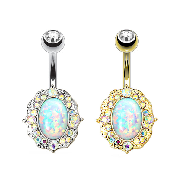 Opal Center Aurora Borealis Belly Button Ring