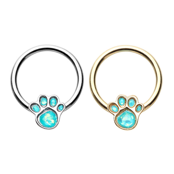 Opal Paw Print Captive Bead Ring