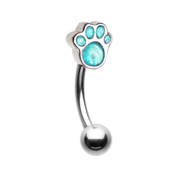 Opal Paw Print Curved Barbell
