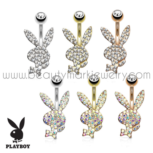 playboy bunny shaped steel belly ring with crystals paved over the front surface