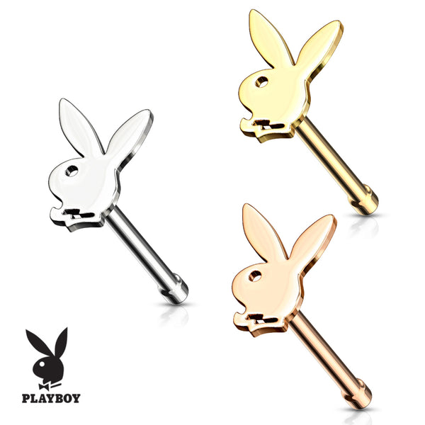 Playboy logo nose bone nose ring. Shown in steel, gold, and rose gold.