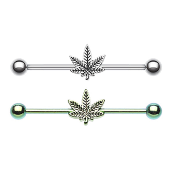 pot leaf industrial barbell