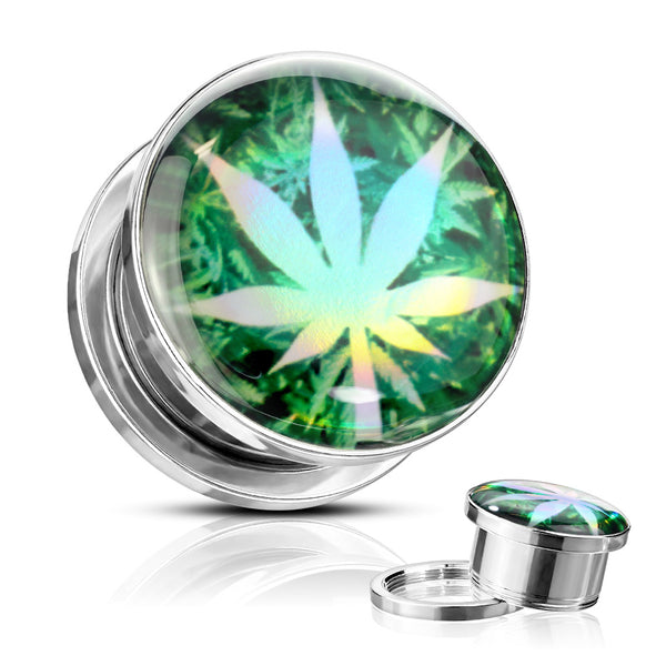 PAIR Pot Leaf Hologram Steel Plugs