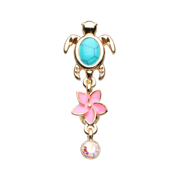 Reverse Gold Turquoise Sea Turtle & Flower Belly Ring