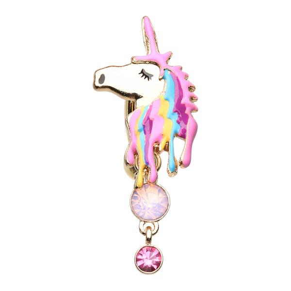 Reverse Golden Unicorn Belly Button Ring