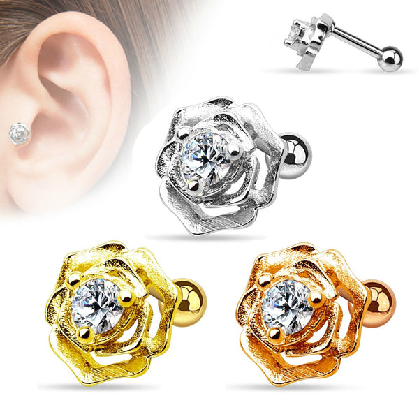 Flower with Center Gem Cartilage/Tragus Ring 16g