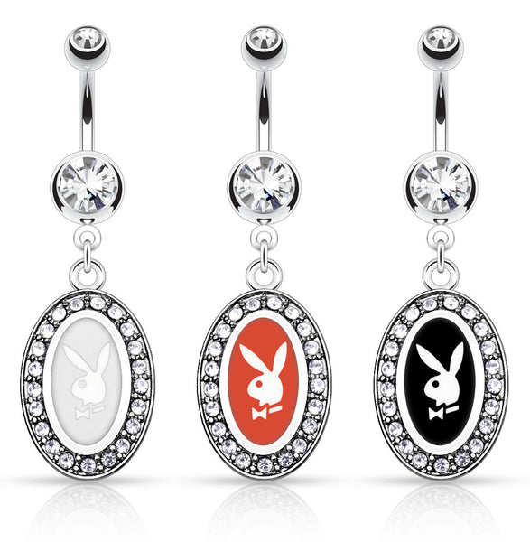Playboy Bunny Oval Dangle Belly Ring