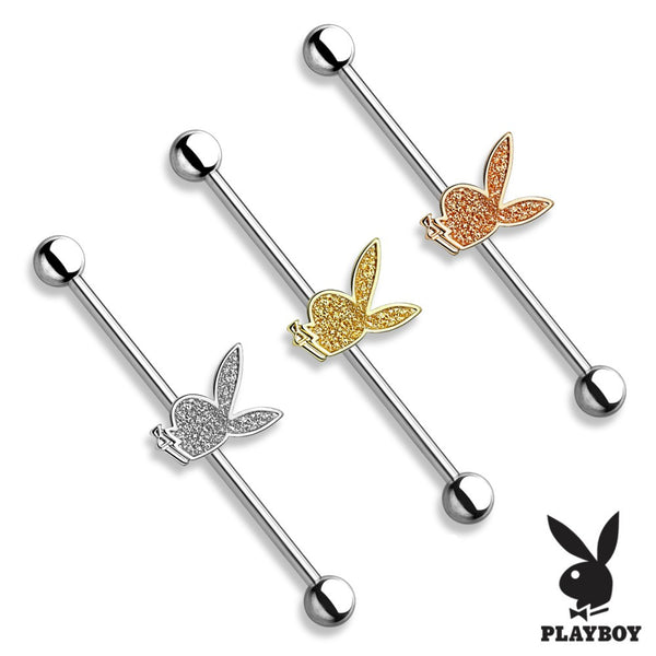 Sparkling Sand Blast Playboy Bunny Industrial Barbell