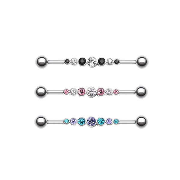 seven assorted sized gems on a industrial barbell