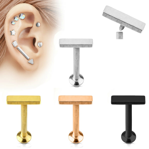Short Bar Top Internally Threaded Cartilage/Tragus Ring