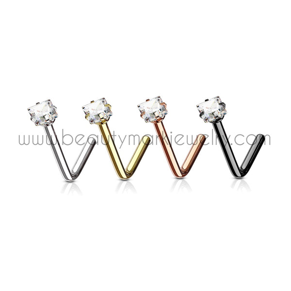square gem surgical steel l-bend nose ring