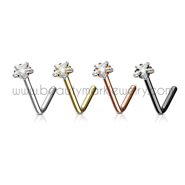 star gem surgical steel l-bend nose ring