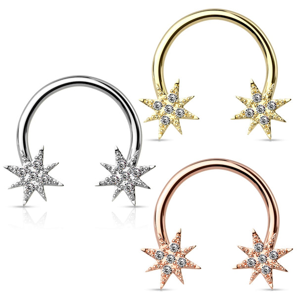 Crystal Starburst Horseshoe Ring