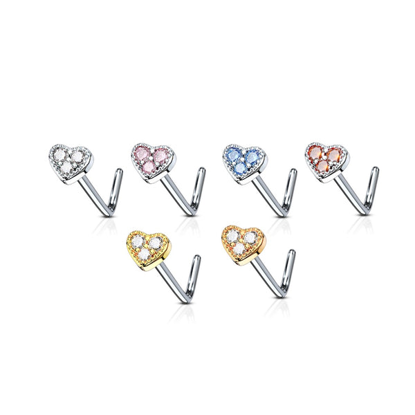 A group of 3 gem heart L-bend nose rings shown in various colors.