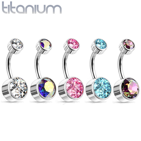 Double Gem Internally Threaded Titanium Belly Ring