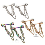 PAIR Triple Chain Nipple Rings