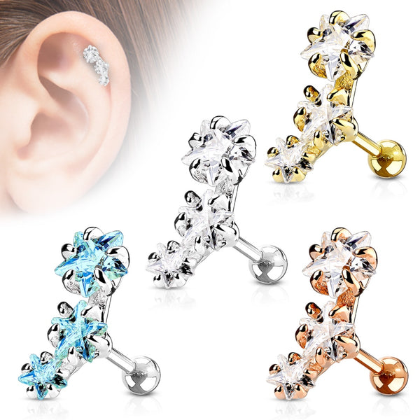 Triple Cubic Zirconia Star Cartilage/Tragus Ring