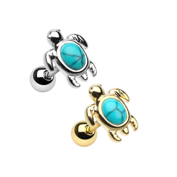 Turtle Turquoise Stone Cartilage Ring