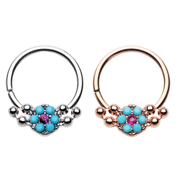Turquoise Flower Bendable Hoop Ring