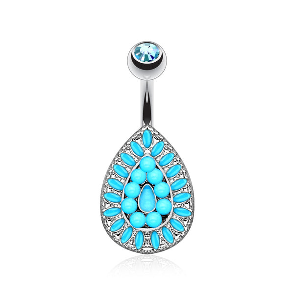 Vintage Turquoise Bead Teardrop Belly Button Ring
