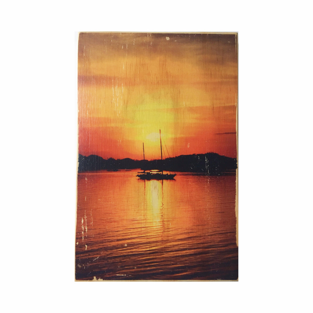 Sunrise Sailboat  Wood Photo