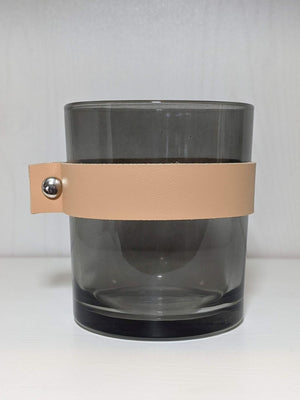 Creative Co-op Glass Candle Holder Leather Strap Charcoal