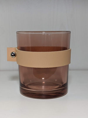 Creative Co-op Glass Candle Holder Leather Strap Mauve