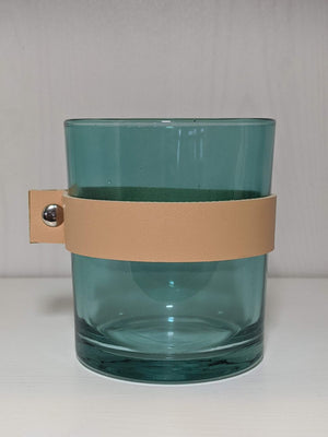 Creative Co-op Glass Candle Holder Leather Strap Teal