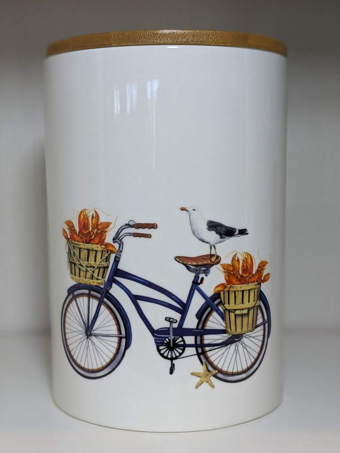 Creative Co-op Round Stoneware Canister With Bicycle And Bamboo Lid Blue