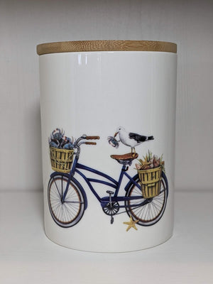 Creative Co-op Round Stoneware Canister With Bicycle And Bamboo Lid Blue Small