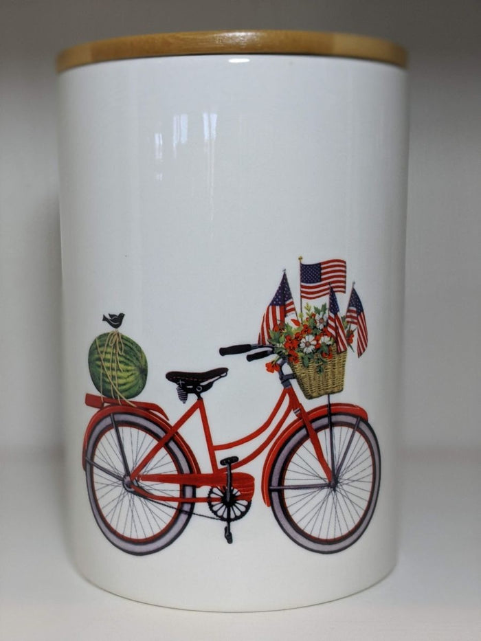 Creative Co-op Round Stoneware Canister With Bicycle And Bamboo Lid Red