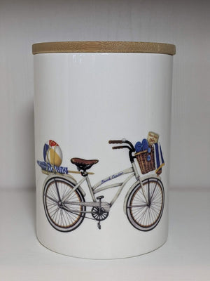 Creative Co-op Round Stoneware Canister With Bicycle And Bamboo Lid White Small
