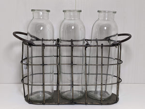 Farmhouse Caddy With Three Glass Bottles