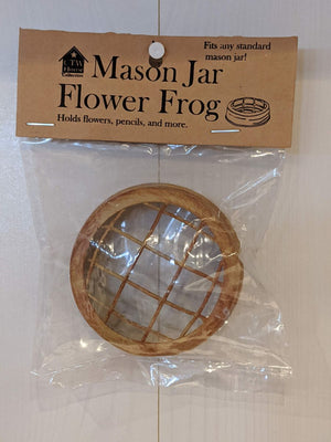 Mason Jar Flower Frog Lid Antique Mustard