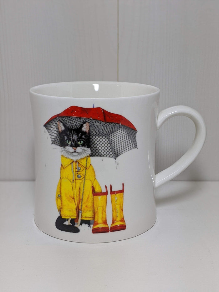 Stoneware Rainy Day Cat Mug