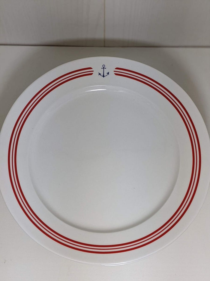 Stoneware Plate Anchor and Stripes Red