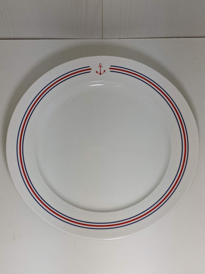 Stoneware Plate Anchor and Stripes Thin