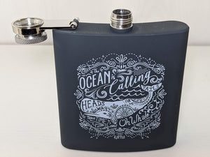 The Ocean Is Calling Metal Flask