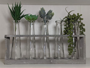 Vase Holder With Five Glass Vases Distressed Grey