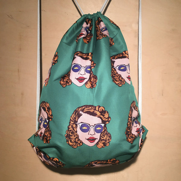 Drawstring Bag | Flying Saucer Green by Monsieur Clown