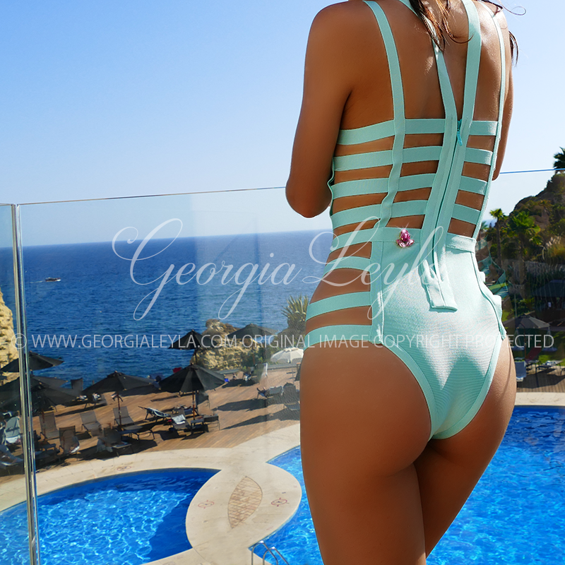Sicily One Piece Swimsuit - georgialeyla georgia leyla luxury crystal rhinestone sparkle stocking pantyhose tights dress dresses swarovski lingerie crystals
