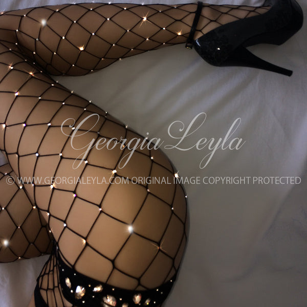 350 Crystals Noir Fishnets - georgialeyla georgia leyla luxury crystal rhinestone sparkle stocking pantyhose tights dress dresses swarovski lingerie crystals