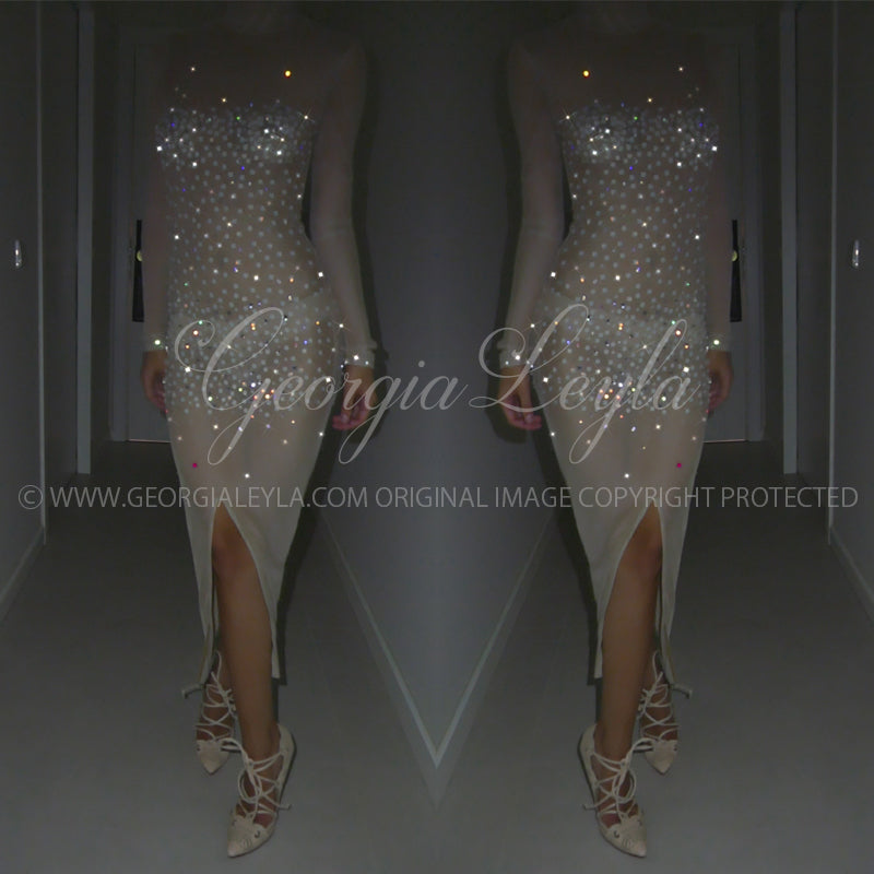 Sparkling Beneath the Light Dress - Make your own - georgialeyla georgia leyla luxury crystal rhinestone sparkle stocking pantyhose tights dress dresses swarovski lingerie crystals