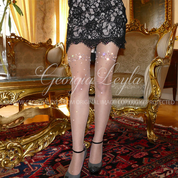 Honeymoon Tights - georgialeyla georgia leyla luxury crystal rhinestone sparkle stocking pantyhose tights dress dresses swarovski lingerie crystals