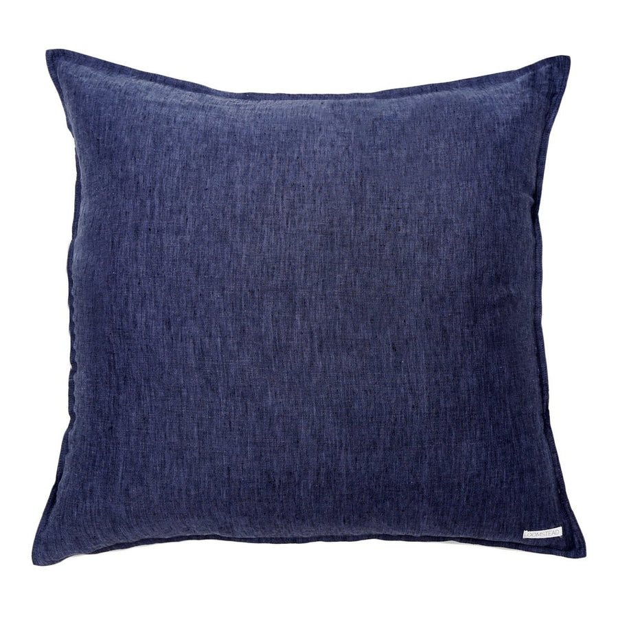 heather navy linen euro sham
