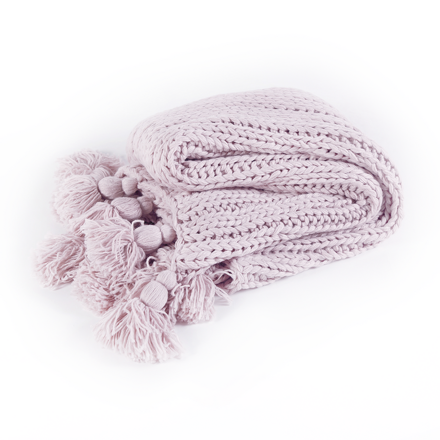 Chunky Tassel Throw - Mauve Pink