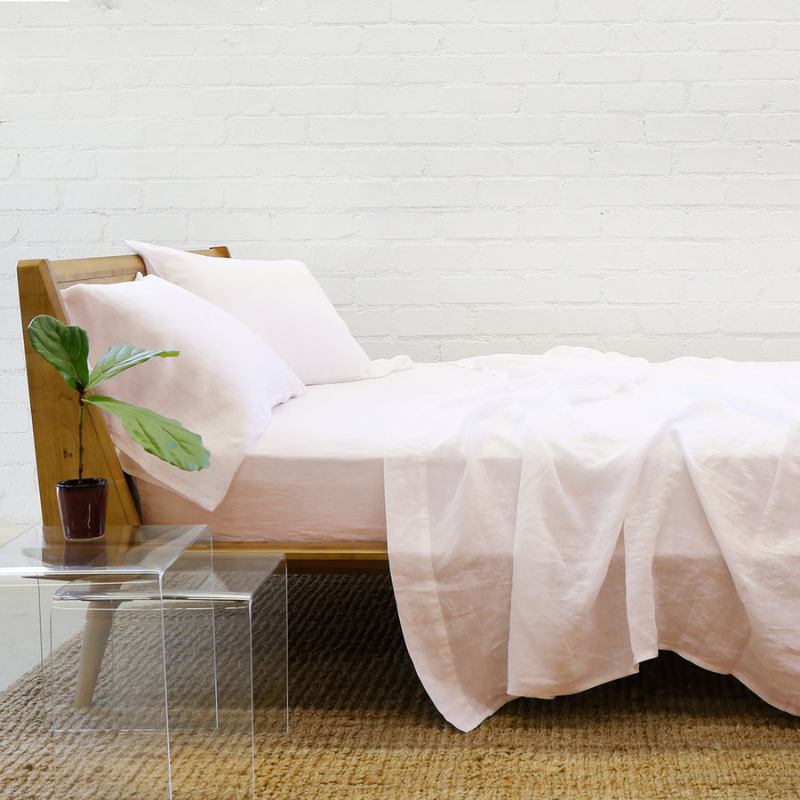 blush linen sheet set