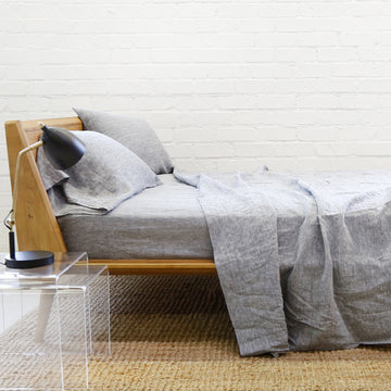 Linen Sheet + Pillowcases - Heather Charcoal (Cal King Only)