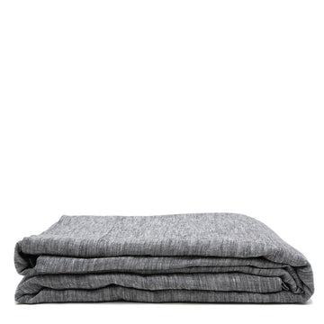 heather charcoal linen flat sheet