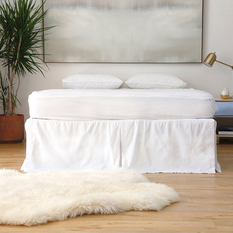 Cotton Pleated Bed Skirt WHITE